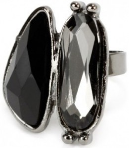Black double stone ring - Bizou